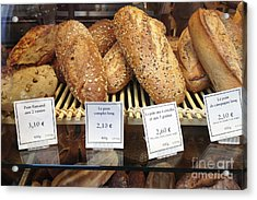 Paris Food Photography - Paris Au Pain Bakery Patisserie - French Bread Acrylic Print by Kathy Fornal