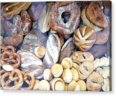 Paris Food Photography - Paris Au Pain - French Breads And Pretzels Acrylic Print by Kathy Fornal