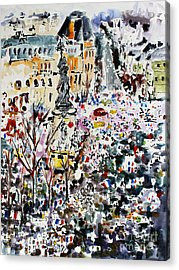 Paris France January 11th 2015 Acrylic Print by Ginette Callaway