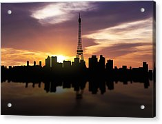 Paris France Sunset Skyline  Acrylic Print by Aged Pixel