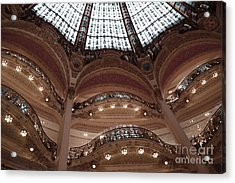 Paris Galeries Lafayette Stained Glass Ceiling Dome - Paris Architecture Glass Ceiling Dome Balcony Acrylic Print by Kathy Fornal