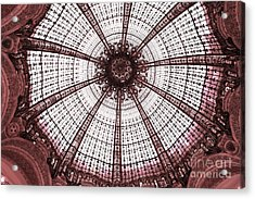 Paris Galeries Lafayette Stained Glass Ceiling Dome - Paris Art Nouveau Abstract Dome Architecture Acrylic Print by Kathy Fornal