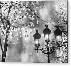 Paris Christmas Sparkle Lights Street Lanterns - Paris Holiday Street Lamps Black And White Lights Acrylic Print by Kathy Fornal