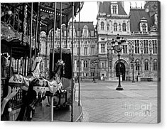 Paris Hotel Deville Black And White Photography - Paris Carousel Merry Go Round At Hotel Deville  Acrylic Print by Kathy Fornal