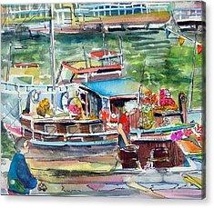 Paris House Boat Acrylic Print by Mindy Newman