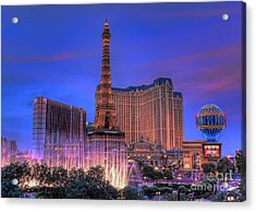 Paris Las Vegas At Sunset Acrylic Print