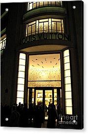 Paris Louis Vuitton Boutique Store Front - Paris Night Photo Louis Vuitton - Champs Elysees  Acrylic Print