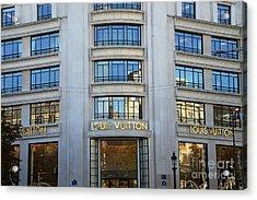 Paris Louis Vuitton Fashion Boutique - Louis Vuitton Designer Storefront In Paris Acrylic Print