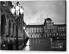 Paris Louvre Museum Lanterns Lamps - Paris Black And White Louvre Museum Architecture Acrylic Print by Kathy Fornal