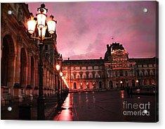 Paris Louvre Museum Night Architecture Street Lamps - Paris Louvre Museum Lanterns Night Lights Acrylic Print