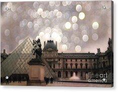 Paris Louvre Museum Pyramid - Dreamy Louvre Museum And Pyramids Acrylic Print