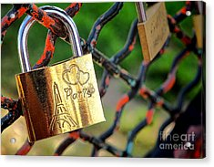 Paris Love Lock Acrylic Print