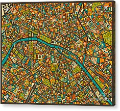 Paris Map Acrylic Print by Jazzberry Blue