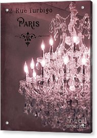 Paris Sparkling Crystal Chandelier - Paris Pink Mauve Crystal Chandelier Decor Acrylic Print