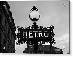 Paris Metro Sign Black And White Art - Ornate Metro Sign At The Louvre - Metro Sign Architecture Acrylic Print