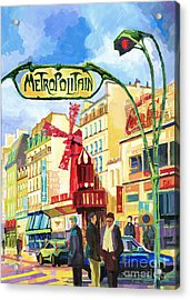 Paris Metropolitain Blanche Moulin Rouge  Acrylic Print by Yuriy  Shevchuk