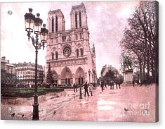 Paris Notre Dame Cathedral Courtyard - Notre Dame Courtyard Dreamy Pink  Acrylic Print by Kathy Fornal