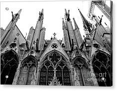 Paris Notre Dame Cathedral Gothic Black And White Gargoyles And Architecture Acrylic Print by Kathy Fornal