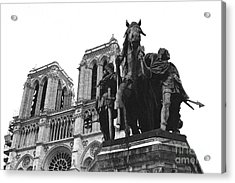 Paris Notre Dame Cathedral Monument - Charlemagne Horses Statue At Notre Dame Cathedral  Acrylic Print by Kathy Fornal