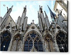 Paris Notre Dame Cathedral - Paris Surreal Gothic Gargoyles Spires - Notre Dame Architecture  Acrylic Print by Kathy Fornal