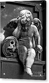 Paris Pere Lachaise Cemetery- Cherub Gothic Angel With Skull Acrylic Print by Kathy Fornal