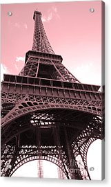 Paris Photography - Eiffel Tower Baby Pink Pastel Photography - Eiffel Tower Architecture Acrylic Print by Kathy Fornal
