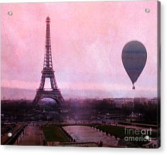 Paris Pink Eiffel Tower With Hot Air Balloon - Paris Eiffel Tower Romantic Pink Art Deco Acrylic Print by Kathy Fornal