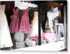 Paris Pink White Bridal Dress Shop Window Paris Decor Acrylic Print