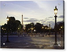 Paris Place De La Concorde Evening Sunset Lights With Eiffel Tower - Paris Night Lights Eiffel Tower Acrylic Print by Kathy Fornal