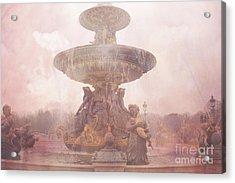 Paris Place De La Concorde Fountain - Paris Dreamy Pink Landmarks - Paris Pink Place De La Concorde  Acrylic Print by Kathy Fornal