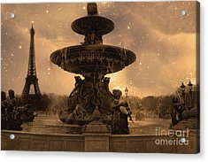 Paris Place De La Concorde Fountain Square - Paris Fountain And Eiffel Tower Sepia Starry Night  Acrylic Print by Kathy Fornal