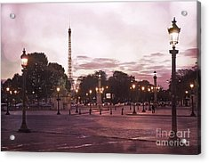 Paris Place De La Concorde Plaza Street Lamps - Romantic Paris Lanterns Eiffel Tower Pink Sunset Acrylic Print by Kathy Fornal