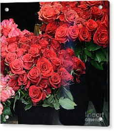 Paris Red French Market Roses - Paris French Flower Market Red Roses  Acrylic Print by Kathy Fornal