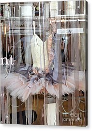 Paris Repetto Ballerina Pink Cream Gray Tutu In Window - Paris Ballerina Dress In Window Acrylic Print by Kathy Fornal