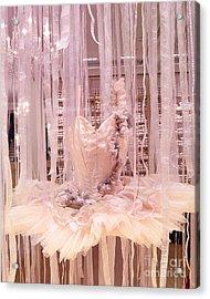 Paris Repetto Pink Ballerina Tutu Window Display - Parisian Fashion Ballerina Dress Acrylic Print by Kathy Fornal