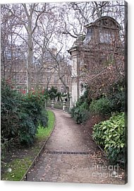 Paris Romantic Parks - Luxembourg Gardens - Medici Fountain Park - Pathway To Luxembourg Gardens Acrylic Print by Kathy Fornal