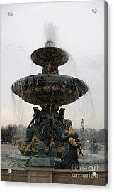 Paris Romantic Sculpture Fountain - Place De La Concorde Fountain Square Acrylic Print by Kathy Fornal