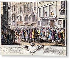 Paris. Rue Quinquempoix, 1720. Scene Acrylic Print by Everett