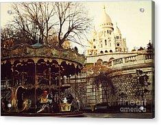Paris Sacre Coeur Carousel Merry Go Round - Paris Autumn Fall Carousel Sacre Coeur Cathedral Acrylic Print by Kathy Fornal