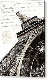 Paris Sepia Vintage Eiffel Tower With French Script Lettering - Letters From Paris  Acrylic Print by Kathy Fornal