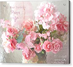 Paris Shabby Chic Dreamy Pink Peach Impressionistic Romantic Cottage Chic Paris Flower Photography Acrylic Print by Kathy Fornal