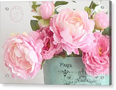 Paris Peonies Shabby Chic Dreamy Pink Peonies Romantic Cottage Chic Paris Peonies Floral Art Acrylic Print by Kathy Fornal