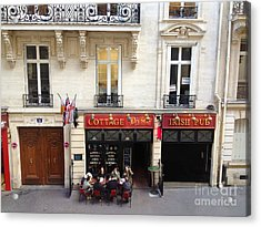 Paris Sidewalk Cafes Cottage Elysees Irish Pub - Paris Pubs Sidewalk Cafes Red Architecture Art Deco Acrylic Print by Kathy Fornal