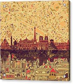 Paris Skyline Abstract Sepia Acrylic Print
