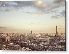 Paris Skyline At Sunrise Acrylic Print by Irene Suchocki