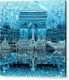 Paris Skyline Landmarks 3 Acrylic Print