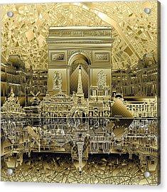 Paris Skyline Landmarks 4 Acrylic Print