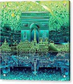 Paris Skyline Landmarks 6 Acrylic Print