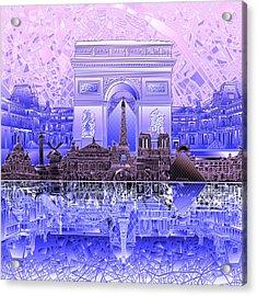 Paris Skyline Landmarks 7 Acrylic Print