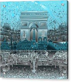 Paris Skyline Landmarks Acrylic Print